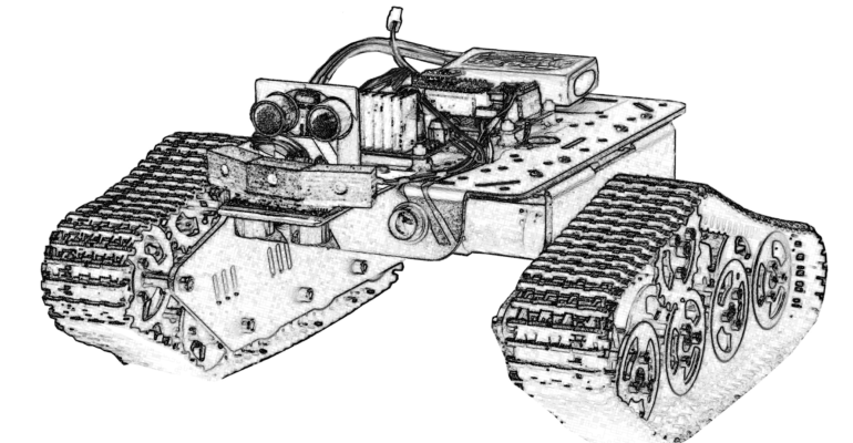 Line drawing of work experience rover