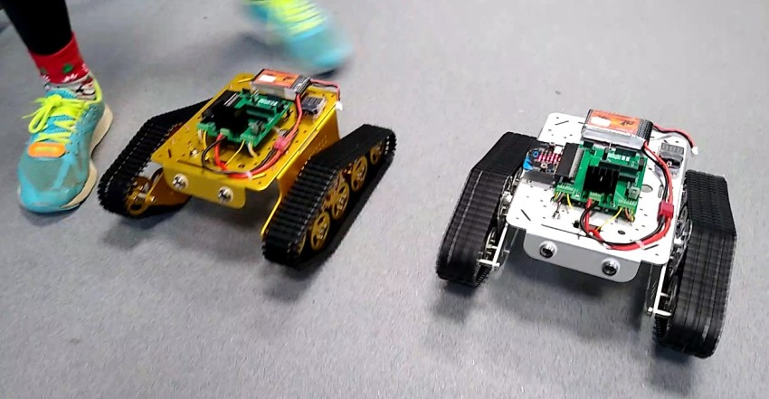One rover being overtaken by another.